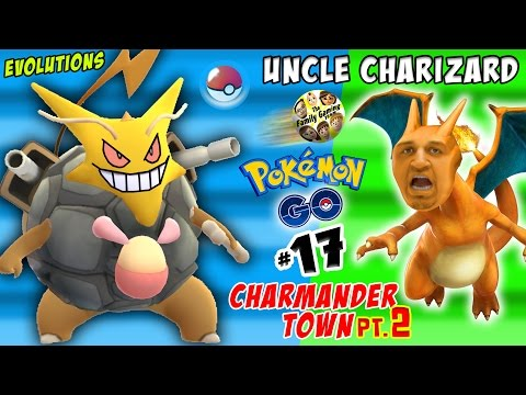 UNCLE CHARIZARD Pokemon Go CRAZY Evolutions in CHARMANDER TOWN pt. 2 FGTEEV Part 17