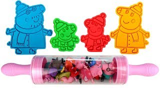 Learn Colors with Play Doh Molds Peppa Pig Daddy Pig Mummy Pig George Surprise Eggs Surprise Toys