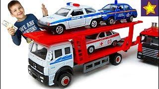 Машинки Автовоз Велли Мерседес везет служебные машинки Car Toys for kids
