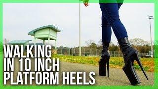WALKING in EXTREME 10inch (24 CM) heels at the Park   6 Inch Platform   Pleaser Beyond 1020