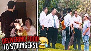 DELIVERING FOOD TO STRANGERS PRANK!!
