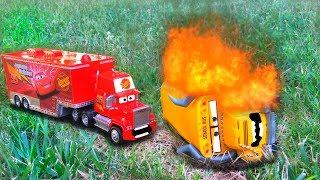Disney Pixar Cars Red Mack Hauler Races Saves Cars 3 Miss Fritter Giant Crash Starts Fire Toy Story
