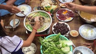 Asian Family food, Eating BBQ And Soup, Country Food In My Village