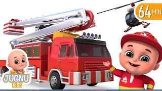 Fire trucks for kids   toy truck assembly videos  for children   Surprise eggs unboxing  jugnu kids