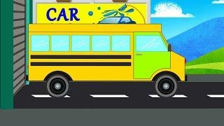 school bus | car wash | kids cartoon