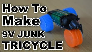 How To Make 9V Tricycle Toy - (from junk parts)