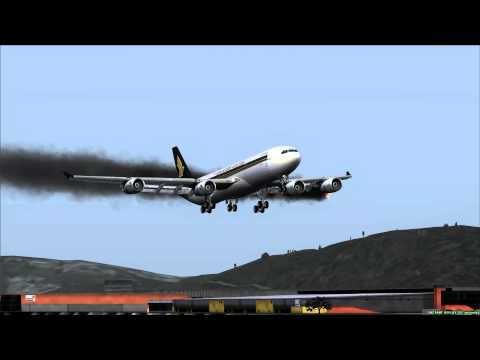 Airbus A340 Emergency 2 Engines on Fire Hong Kong (VHHH)