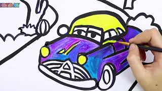 How To Draw Glitter and Learn Coloring Race car for kids || Draw Everyday