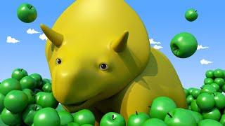 Aprender com o Dino -  APRENDA CORES: colhendo FRUTAS! - Aprender em português 👶 Desenhos Animados