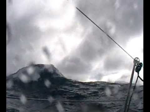 Racing Yacht in a storm taking a knockdown