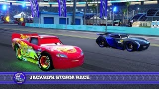 Cars 3: Driven to Win (PS4) Gameplay - Lightning McQueen vs. Jackson Storm (Hard Mode)