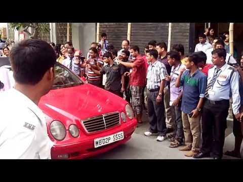 Saurabh ganguly in his classy red MERCEDES car in kolkata