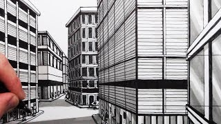 How to Draw Multiple 1-Point Perspective: Draw Buildings on a Street