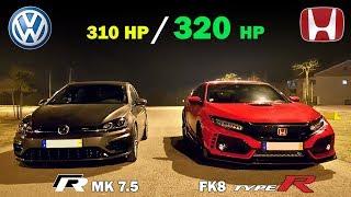 VW Golf R mk 7.5 🆚 Civic Type R FK8 - 2018 Battle 🏁