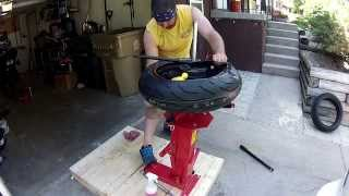 Motorcycle tire change with ebay tire changer