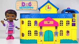 UNBOXING DOC MCSTUFFINS TOY HOSPITAL WITH THREE LEVELS HELICOPTER RHONDA LAMBIE BABY CECE & ELEVATOR