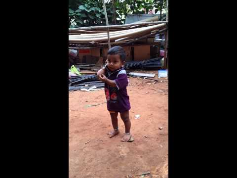 Cute baby funny talking on mobil