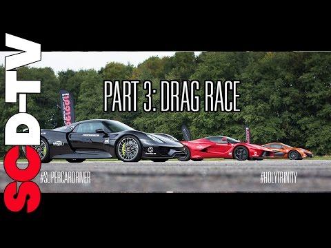 DRAG RACE LaFerrari v P1 v 918 Spyder 0 186 mph Part 3 3