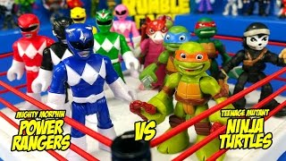 Ninja Turtles vs Power Rangers Toys Shake Rumble Wrestling Match // RUMBLE LEAGUE by KIDCITY