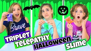 Triplet Telepathy Slime Challenge - Halloween Slime! And Another Giveaway!