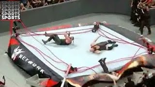 WWE Raw Ring Breaks, Sends Ref Flying