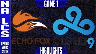 FOX vs C9 Highlights   NA LCS Week 5 Spring 2018 W5D2   Echo Fox vs Cloud 9 highlights