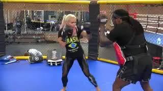 Larissa Reis- Sexy bodybuilding superstar doing some boxing training w/ Dewey Cooper