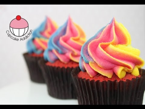 Easy Rainbow Frosting Swirl Technique for Cupcakes A Cupcake Addiction How To Tutorial