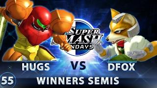 SSS 55 - Hugs (Samus) vs. DruggedFox (Fox) - SSBM Top 32 Winners Semis - Smash Melee