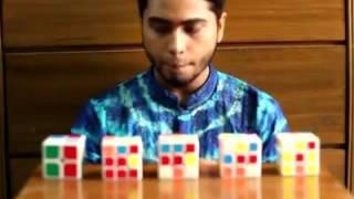 5 Cubes Solved Blindfolded by bangladeshi Sakib Ibn Rashid Rhivu