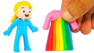 SUPERHERO GIRL NEW RAINBOW DRESS ❤ SUPERHERO BABIES PLAY DOH CARTOONS FOR KIDS