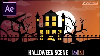 After Effects Tutorial: Halloween Scene Cartoon Animation