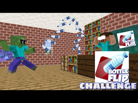 Monster School : BOTTLE FLIP CHALLENGE - Minecraft Animation