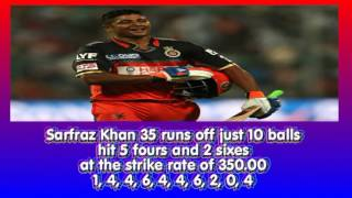 Sarfaraz Khan 35 off 10 balls against Sunrisers Hyderabad, 4TH Match, IPL 2016 – 12th April, 2016