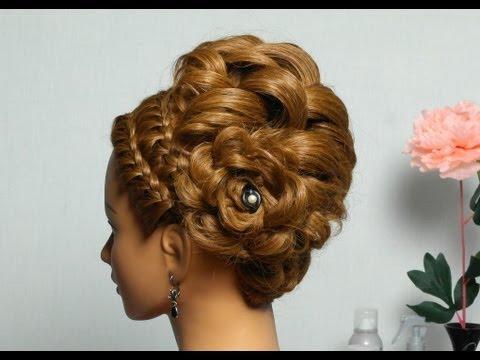 Красивая вечерняя прическа косы средние волосы6