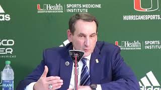 Duke Coach Mike Krzyzewski | Post Game Presser vs. Miami | 1.15.2018