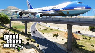 GTA 5 Air Force One Plane - Emergency Crash Landing On Bridge (Air Force 1 Mod)