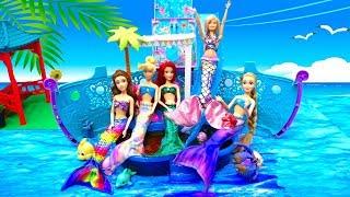 Mermaids Ariel Princess Cruise Ship LOL Bath Bombs Mermaid Tail & Costumes Change in Barbie Pool
