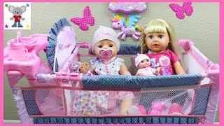 Trona Cuna Cambiador y Armario para la Muñeca Bebé Baby Born | La Bebé come papilla y hace popó