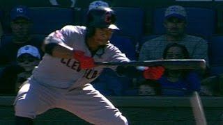 Lindor drops down bunt to break up no-hitter