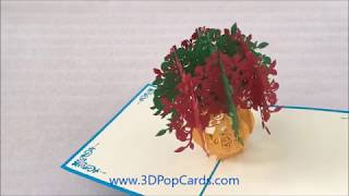 BEFUN Pop Up Greeting Card 3D Paper Floral Vase