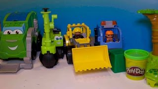 Play Doh Mighty Machines, Excavator, Digger, Garbage Truck Make Garbage