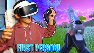 MY LITTLE BROTHER PLAYS FORTNITE IN FIRST PERSON... First Person Gameplay! (VR) | David Vlas