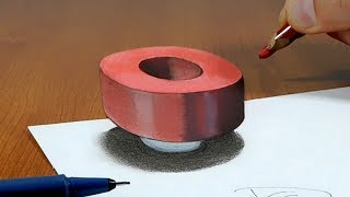Try to do 3D Trick Art on Paper, floating letter O