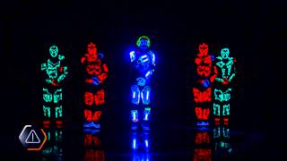 Dance show led, bailarines Light Balance Neon shows Ukraine team dancers in neon suits in LED new