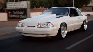 Slammed Foxbody Mustang ... Vortech Supercharged ... Trickflow heads and cam. 476whp