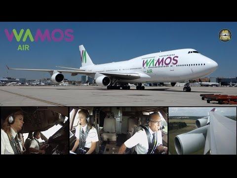 Boeing 747-400 ULTIMATE COCKPIT MOVIE,Wamos Air,SHORT FIELD LANDING,ATC[AirClips full flight series]