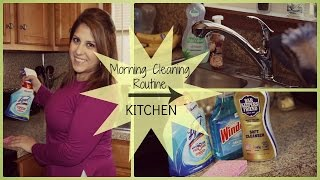 SPEED CLEANING KITCHEN//MORNING ROUTINE!