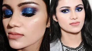 NEW YEAR'S EVE PARTY Makeup 2018 In HINDI| GLITTERY Blue Smokey Eye