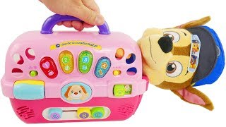 Learn Color Videos for Kids Paw Patrol Skye & Chase Pet Dog Carriers Playset